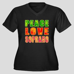 Peace Love Soprano Women's Plus Size V-Neck Dark T