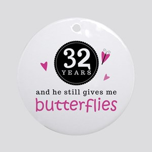 32nd Anniversary Butterflies Ornament (Round)