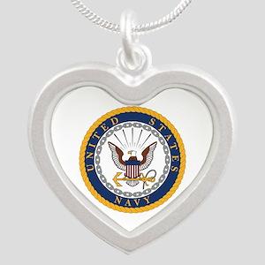 US Navy Emblem Silver Heart Necklace