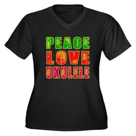 Peace Love Ukulele Women's Plus Size V-Neck Dark T