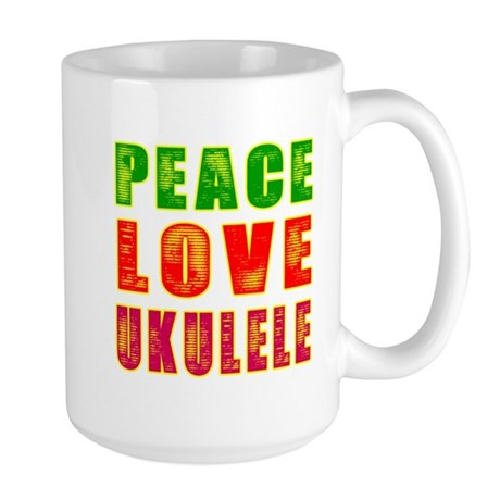 Peace Love Ukulele Large Mug