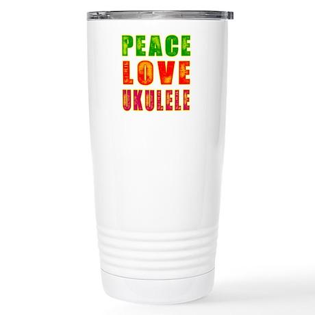 Peace Love Ukulele Stainless Steel Travel Mug