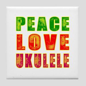 Peace Love Ukulele Tile Coaster