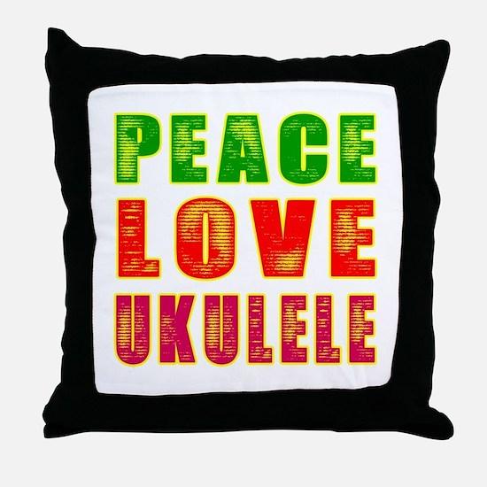 Peace Love Ukulele Throw Pillow