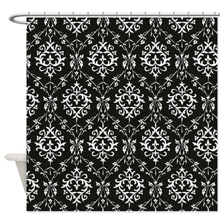 Black U0026 Cream Damask Shower Curtain