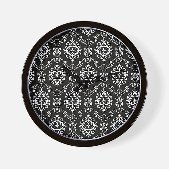 Black & Cream Damask Wall Clock