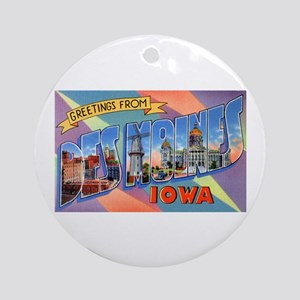 Des Moines Iowa Greetings Ornament (Round)