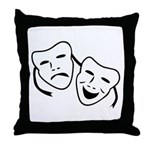 Comedy & Tragedy Mask Throw Pillow