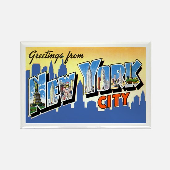 New York City Greetings Rectangle Magnet