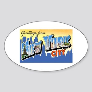 New York City Greetings Oval Sticker