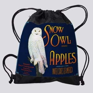 FCL-snow-owl-apples-POSTER Drawstring Bag