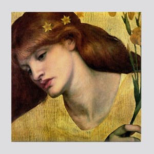 Rossetti Lily Goddess Woman Tile Coaster