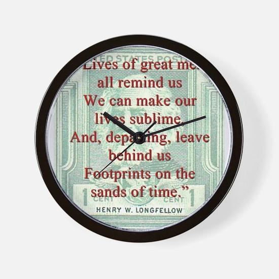 Lives Of Great Men - Longfellow Wall Clock