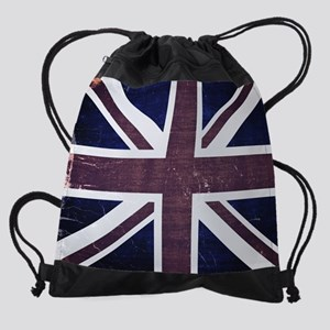 Union Jack Flag Vintage Drawstring Bag