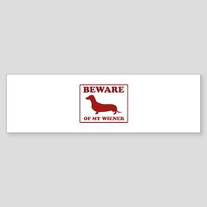 Beware Of My Wiener Sticker (Bumper)