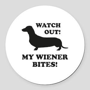 My Wiener Bites! Round Car Magnet