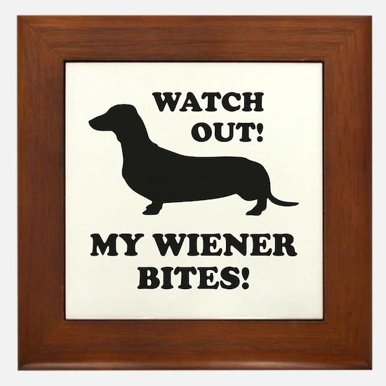 My Wiener Bites! Framed Tile