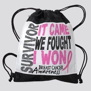 -Survivor 2 Breast Cancer FL Drawstring Bag