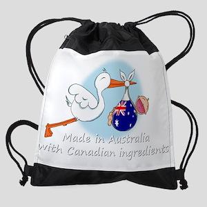 stork baby austr can white.psd Drawstring Bag