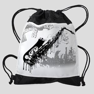 sax graffiti Drawstring Bag