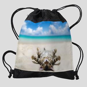 BEACH CAT Drawstring Bag