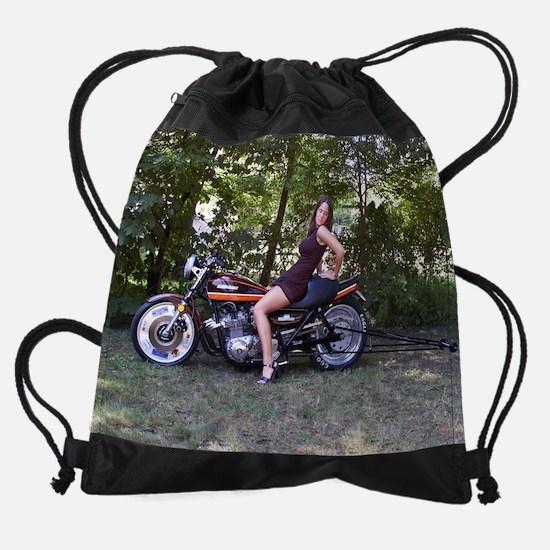 Andrea on a z1 Dragbike Drawstring Bag