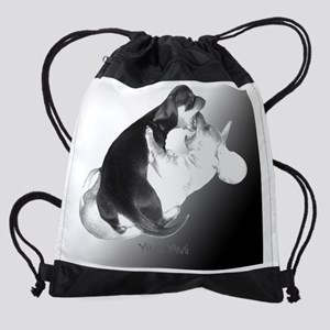yin yang dachshund dogs Drawstring Bag