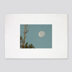 full moon in blue sky and eucalyptu 5'x7'Area Rug