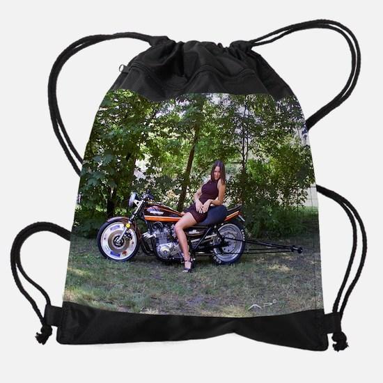Model Andrea on a Z1 Dragbike Drawstring Bag