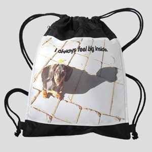 big inside dachshund dog Drawstring Bag
