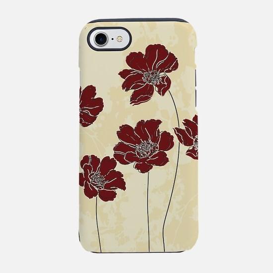 Modern deep red floral design iPhone 7 Tough Case