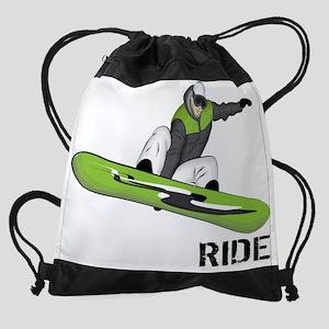 SnowboarderBack Drawstring Bag