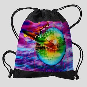 Surfing cyberspace Drawstring Bag