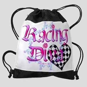racing diva light pink1 Drawstring Bag