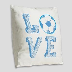 Love Soccer Burlap Throw Pillow
