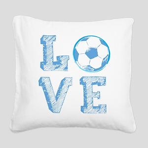 Love Soccer Square Canvas Pillow