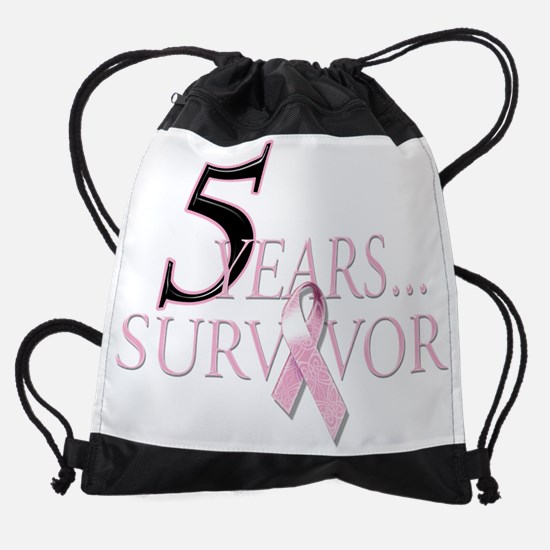 5 Years Breast Cancer Survivor.png Drawstring Bag
