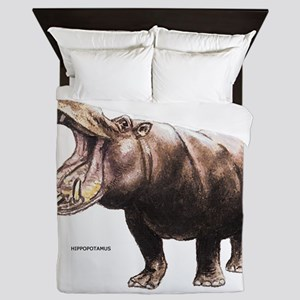 Hippopotamus Animal Queen Duvet