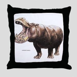 Hippopotamus Animal Throw Pillow