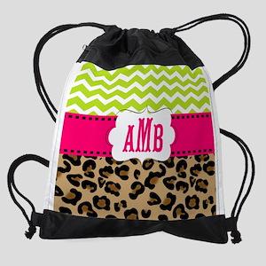 Pink Green Chevron Leopard Monogram Drawstring Bag
