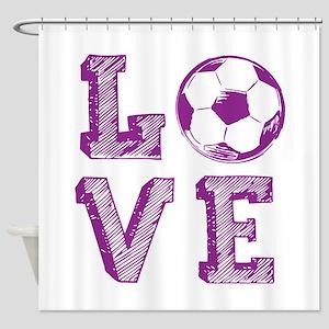 Girly Love Soccer Shower Curtain