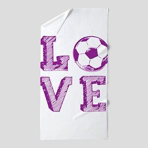 Girly Love Soccer Beach Towel
