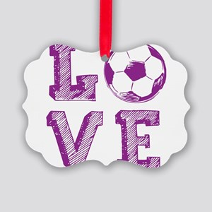 Girly Love Soccer Picture Ornament
