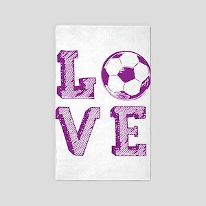 Girly Love Soccer Area Rug