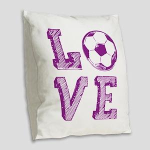 Girly Love Soccer Burlap Throw Pillow
