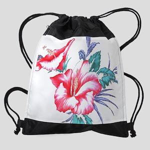Tropical Hibiscus Beach Flowers -  Drawstring Bag