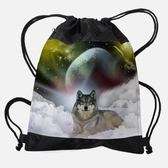 Wolf Cloud Drawstring Bag