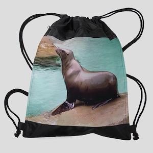(12)sea_lion_on_rock Drawstring Bag
