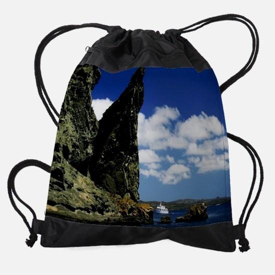 11.5X9 jutting rocks with a boat.jp Drawstring Bag
