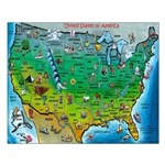 USA Cartoon Map Small Poster